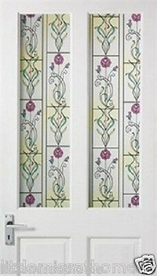 3D Multi-Colored Flower Design Window Film Door Cling Stained Glass Roll Privacy