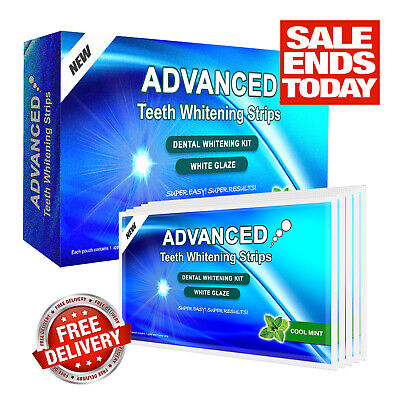 New Professional Advanced Teeth Whitening Strips Home Tooth Bleaching White Glow