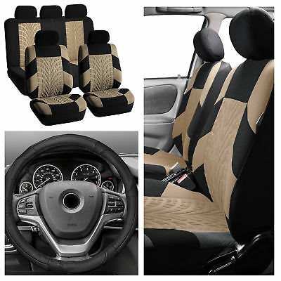 Beige Car Seat Covers for Car SUV with Black Leather Steering Wheel Cover combo