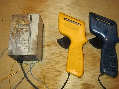 1960's Aurora Model Motoring Power Pack Transformer + 2 Controllers Blue Ylw DC4