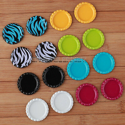 40pcs Flat Bottle Cap Craft Scrapbooking Embellishment Colourful DIY Wholesale