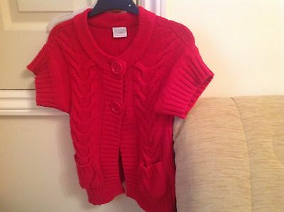 GIRLS NEXT SHORT SLEEVE CARDIGAN RED 5to 6 years , Used