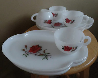 Vintage ROSECREST Federal 8 Piece Arcopal Opaque Glass Luncheon CUPS & SAUCERS