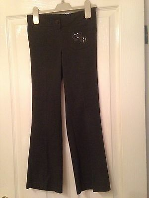 Marks And Spencer Girls Grey School Trousers Age 8 Years