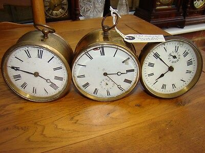 Job lot of 3 French clocks 2 alarm and 1 time piece for parts or restore 1880/90