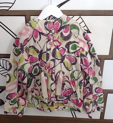 Next Girls Butterfly Print Mac Jacket Coat Hood Age 5 - 6 Years Worn Once