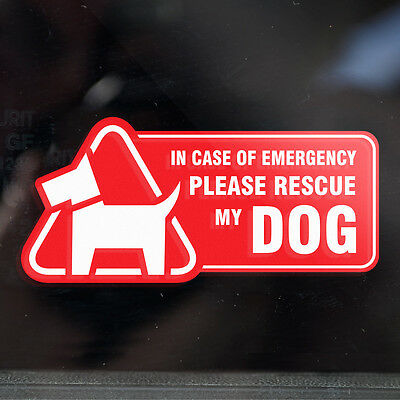 2x DOG RESCUE STICKERS -Save My Pet in Case of Emergency, Fire, Crash (mirrored)