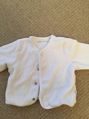 """""""Made with Love"""" Little White  BABY Jacket 0-3 MONTH"""