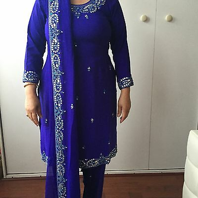 New Ladies Royal Blue Salwar Kameez With Silver Sequences Wedding Size 12 Medium