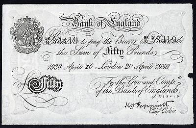 £50 Bank of England P.338a White * gVF *  Fifty Pounds Forgery Bernhard WWII