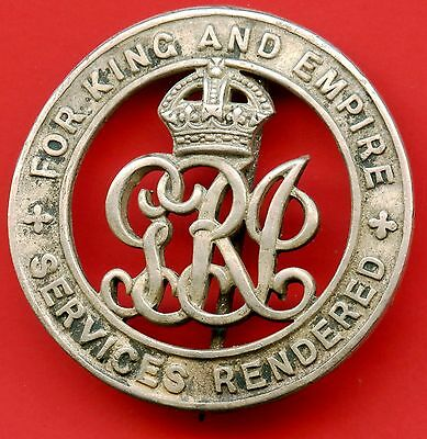 WW1 Great Britain Services Rendered Sterling Silver Pin ( Pin Holder Repaired )
