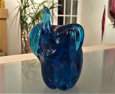 Vintage Mdina Glass Elephant Paperweight Signed & With Label Good Condition
