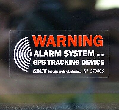 4 CAR ALARM STICKERS - GPS Warning - Outside Tinted Window, External Decal