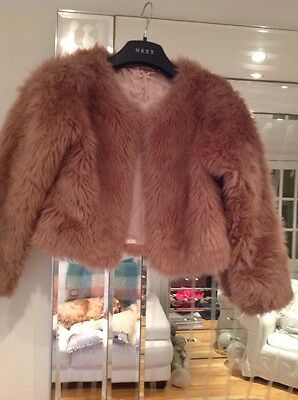 NEXT fur jacket Coat Age 12 nude Pink Copper FAUX Fluffy Christmas Party Evening