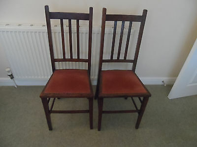 Vintage Elegent Bedroom  Dining Chairs, 2 Oak frames with velvet type seat pads,