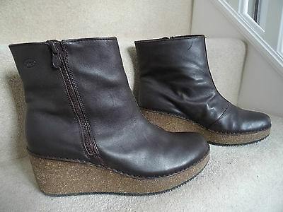 Scholl Brown Leather Ankle Boots Wedge Heel Size 6.5 / 40 Worn Once Ex Condition