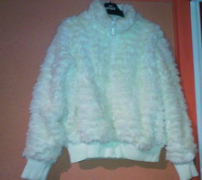Girls White Fur Fluffy Zipped Lined Coat Next Size 15-16 Years