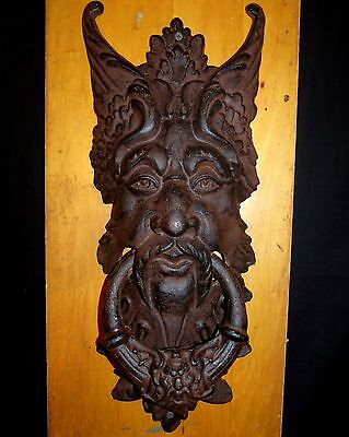 "Door Knocker Extra Large Green Man Cast Iron Door Knocker 21"" tall 8"" wide"