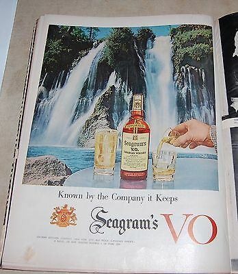"""1955 SEAGRAM'S VO Whiskey Waterfall Print Ad 10 1/2"""" x 14"""""""