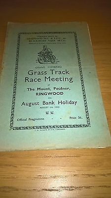 Ringwood Grass Track Speedway Programme (5th August 1935)