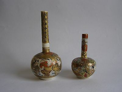 2 Antique Satsuma Porcelain Bottle Vases