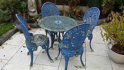 Vintage Cast Aluminium Patio Table and 4 Chairs
