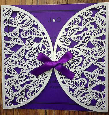 Personalised Laser Cut Wedding Invitations - Butterflies ANY COLOUR