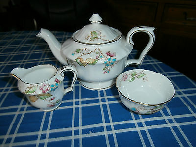 Crown Stafford bone china Tea pot/cream jug/sugar bowl vgc