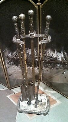 Antique Hammered Bronze fire place tool set Gothic ornate castle renaissance lk