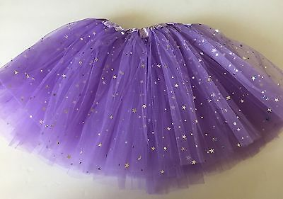 Girls kids sparkle STARS purple TUTU dance performance,birthday 3-10 years