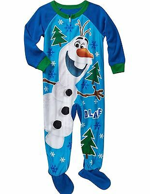 Disney Frozen OLAF Snowman Toddler Baby Footed Blue Blanket Sleeper Pajamas New