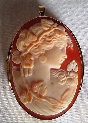 Exquisite hand carved Italian cameo brooch,pendant, 18ct gold