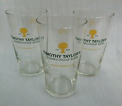 Three New Timothy Taylor Pint Glasses - Ideal For Home Bar -Pub