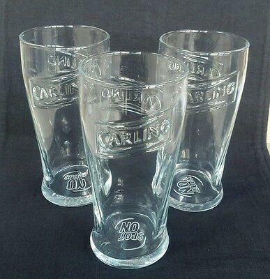 Three CARLING  Embossed Pint Lager Glasses - NEW - Home Pub -Bar