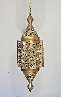 Antique Vintage Chandelier Brass Lantern Pendant Large Light Original Filigree