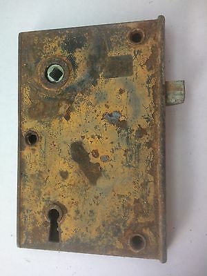 "Vintage Metal Mortise Lock 4 1/2"" x 6 3/4""  No Key"