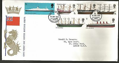 """GB stamps first day cover """"British Ships"""" 1969"""