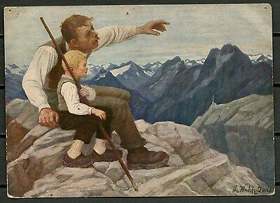 Austria Old Patriotic Postcard Painting Of Father & Son(Diene Heimat)-Cag 041016