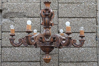 Antique French wood carved chandelier handmade  - castle  6 lamps L8