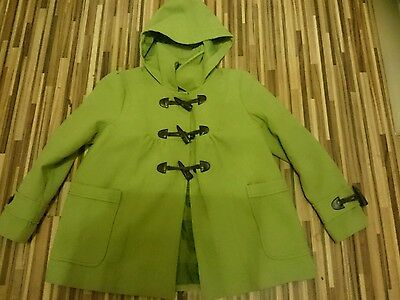 Lovely Condition Lime Green Next Wool Duffle Coat / Jacket Size 9-10 Years £35