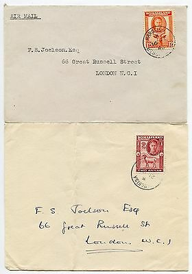 Somaliland Protectorate Kg6 Airmail + Surface 12A + 2A Frankings