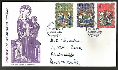"""GB stamps first day cover """"Christmas 1970"""""""