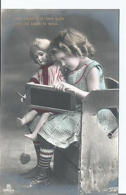Vtg RPpc Young girl & Doll - Baby thinks it is time quite Dolly did begin...