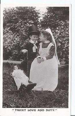Vtg RPpc Girl & Boy with Doll in toy pushchair - Twixt Love and Duty