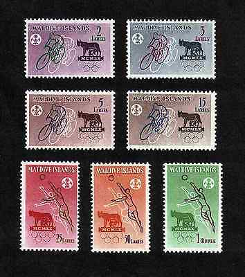Maldive Islands 1960 Olympic Games complete set of 7 values (SG 43-50) MNH