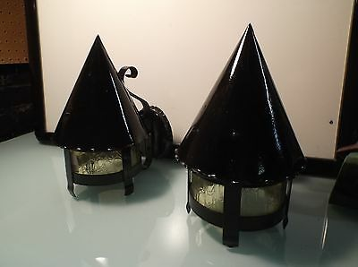 Antique Gothic Medieval Tudor Cone top Metal Wall Light YELLOW GLASS Sconce SET