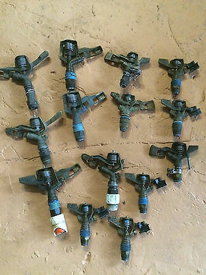 Vintage Clovis CA irrigation sprinkler head, brass, 14 piece lot