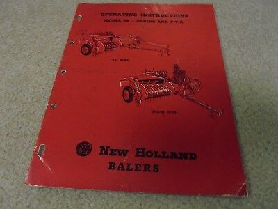 Vintage New Holland Balers Model 66 Operating Instructions Manual