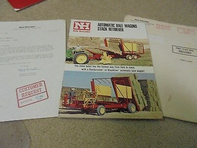 Vintage New Holland Automaic Bale Wagons Stack Retriever Brochure and Letter