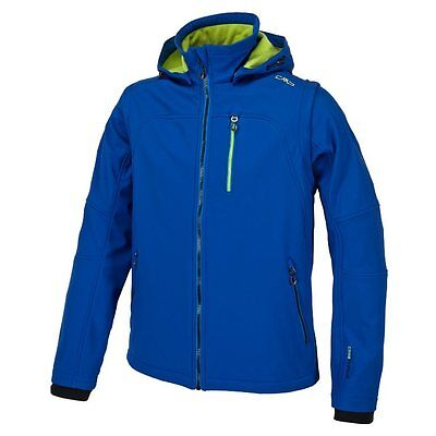 -- CMP Giacca Softshell Jacket Snaps Hood, Royal/Lime Green (A07)